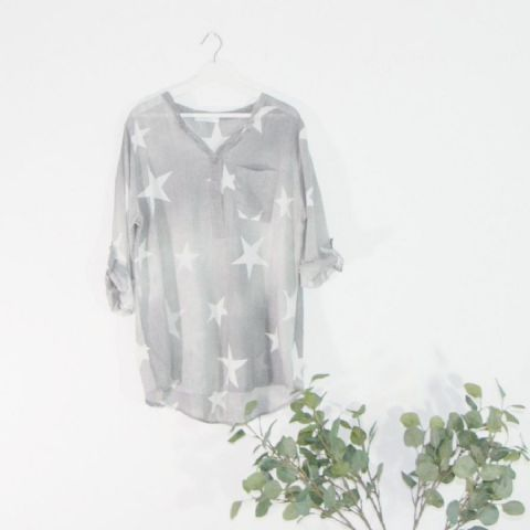 LIGHTWEIGHT STAR PRINT GREY SHIRT